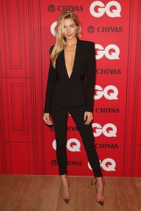 Jessica Hart shows off her figure in an alluring Dion Lee pantsuit
