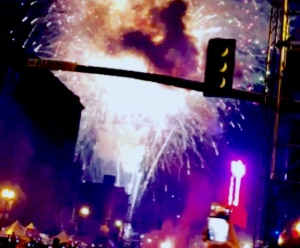 Lady Antebellum performed and fireworks were lit and confetti was thrown...